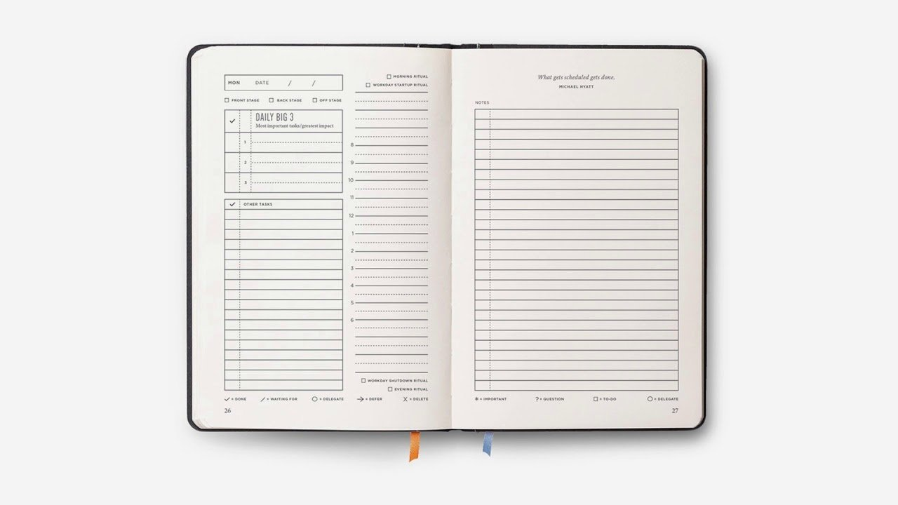 Daily Big 3 - The Best Planner for Organization and Productivity Achievement